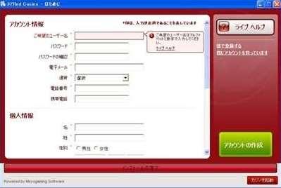 アカウント情報の入力画面
