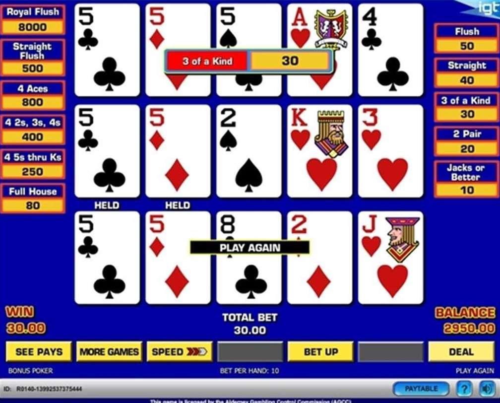 Triple Play Draw Poker Multi Hand