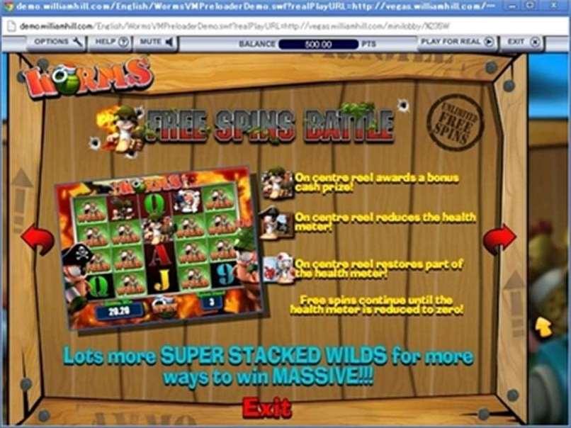 スロット 無料  worms vegas millions スロットゲームゲーム画面1