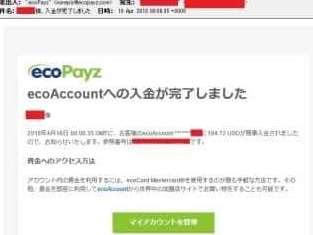 新しい現地銀行の預金オプションのサービスを使用した場合のecoPayzからの入金完了メール2
