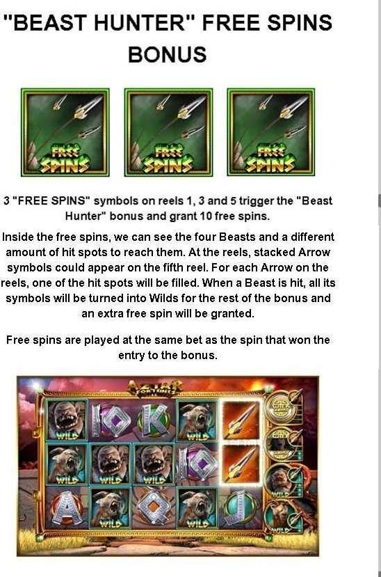 Beast hunter free spins bonus