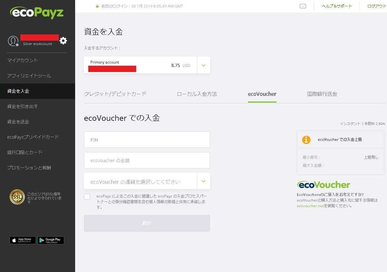 ecoVoucherの購入が終わたらecoPayzで必要情報を入力し入金手続きをします