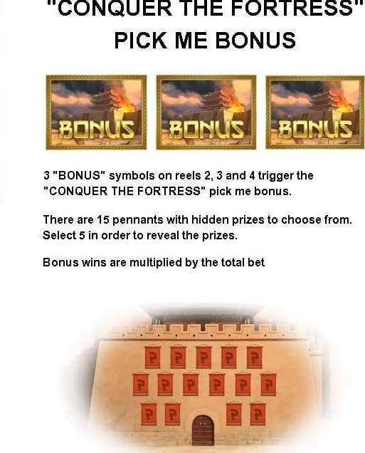 conquer the fortress pick me bonus