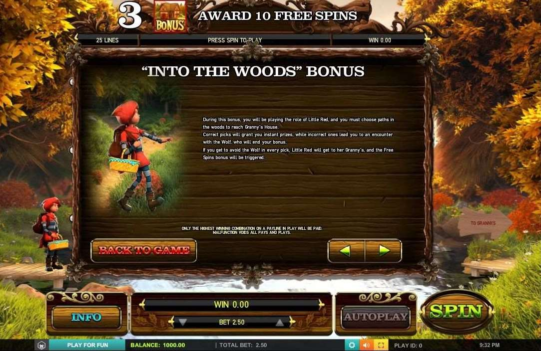 Into The Woodsボーナス