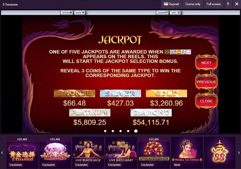 5 Tresures jackpot