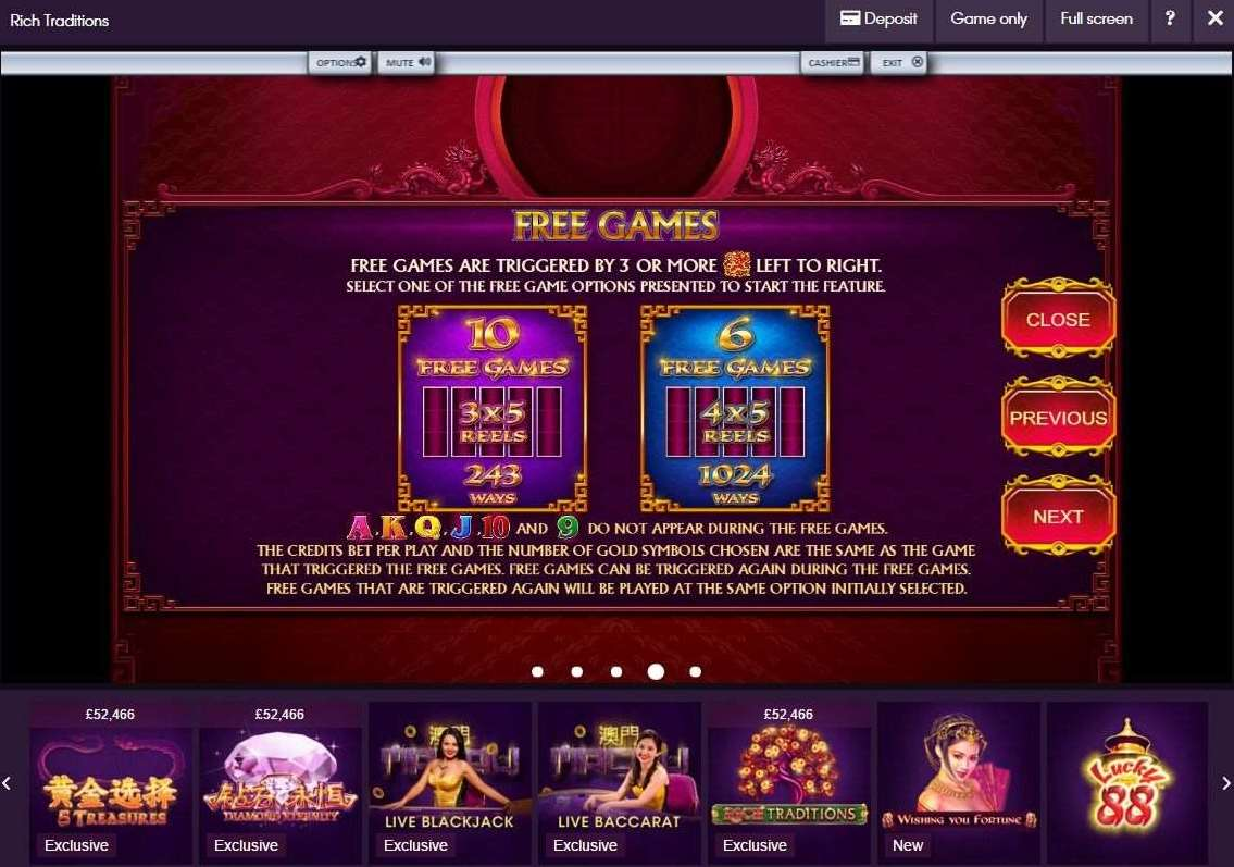 Rich Traditions Free Game