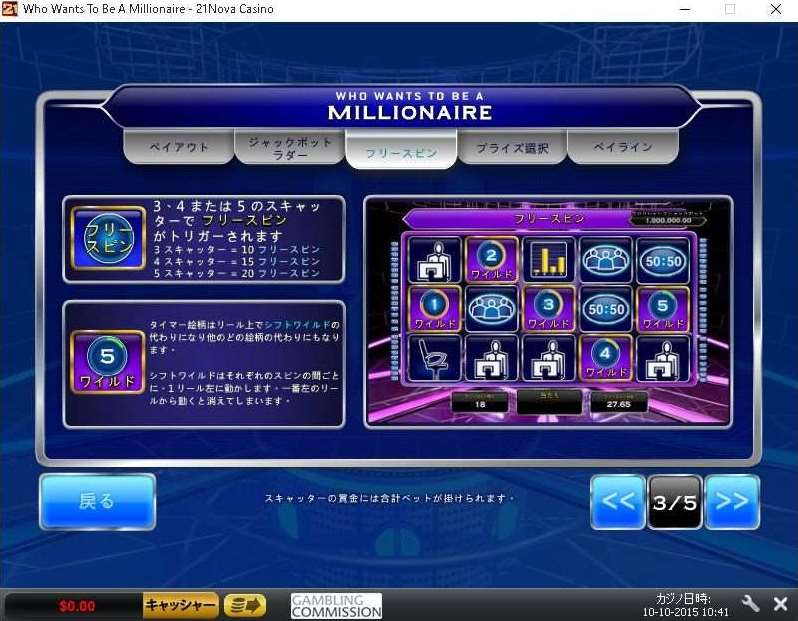 Who Wants To Be A Millionaireのフリースピン