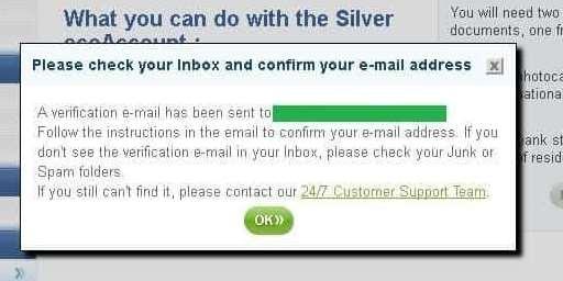 メールボックスに送信した旨のメッセージ