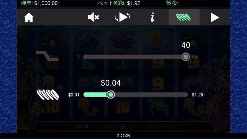 設定画面のコインマークのボタン