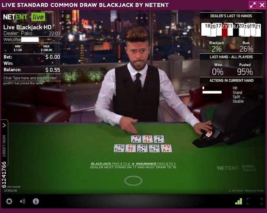 Lucky NikiライブカジノNetEnt Live Common Draw BlackJack