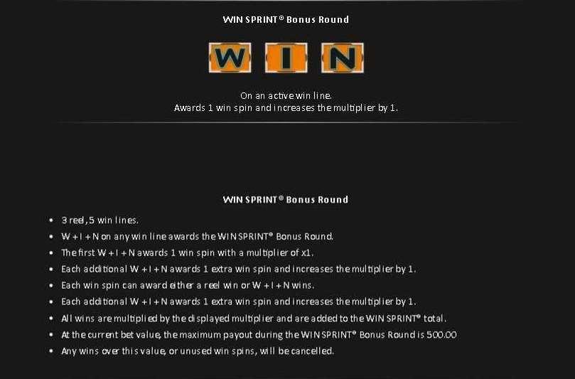 Win Sprintボーナスラウンド1